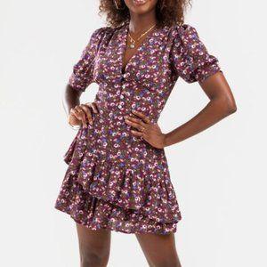 NWT! Purple Floral Tee Ruffle Mini Dress!